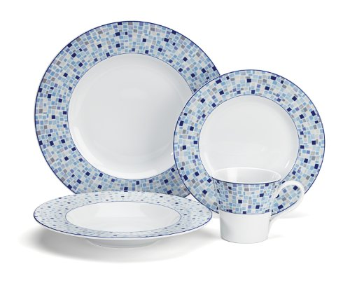 Retro Dinnerware Blue - Cuisinart CDP01-S4A Aleria Collection 16-Piece Porcelain Dinnerware Set
