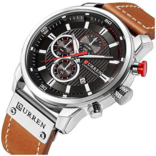 (Mens Leather Strap Watches Stainless Steel Classic Casual Dress Waterproof Chronograph Date Analog Quartz Watch (Silver))