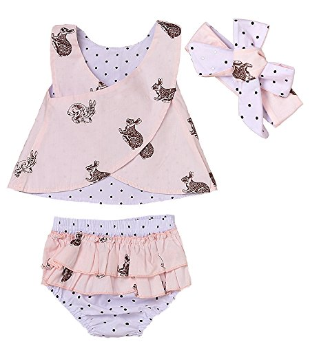 Cross Printed (3pcs Baby Girls Rabbit Printed Cross Shirt+Ruffled Leaf Short Pants+Headband Outfit Set (18-24M, Pink))