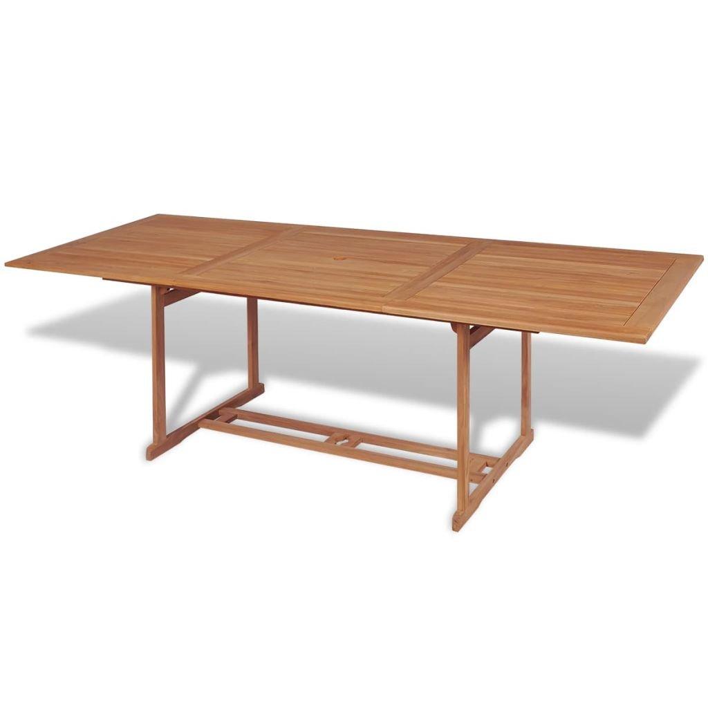 Festnight Rectangular Wood Patio Outdoor Dining Table 180x90x75 cm Teak