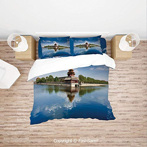 FashSam Duvet Cover 4 Pcs Comforter Cover Set Historical Architecture Imperial Palace Trees Sea Blue Sky Decorative for Boys Grils Kids(King)