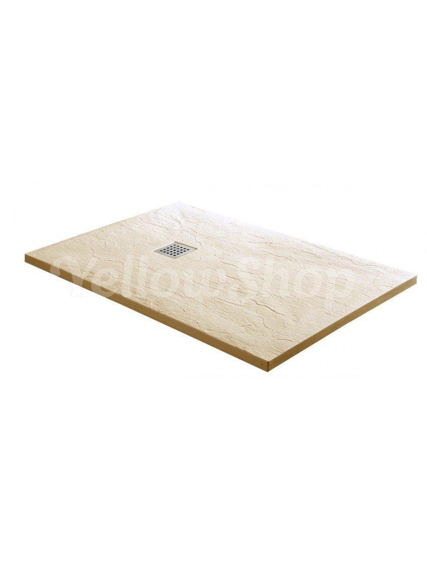 Dimensioni 80X140 cm Yellowshop-Piatto Doccia Rettangolare In Marmoresina Ardesia Beige
