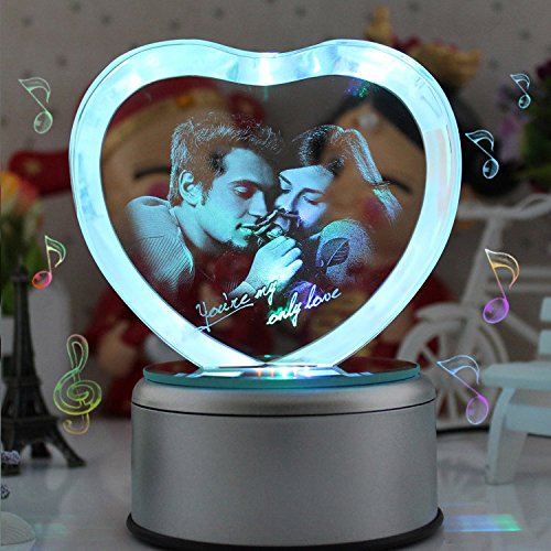 (LIWUYOU Personalized Custom Photo and Text Colorful Romantic Crystal Music Box, Engrave You're my only love, Heart Couple, Bluetooth)
