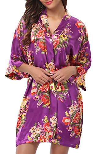 1stmall Floral Satin Kimono Short Style Bridesmaids Robes for Women (Style Flower Print)