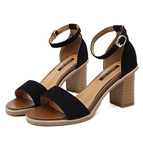 LIVY 2017 verano nueva simples sandalias abiertas tendón en el extremo sandalias señorita Luo Maxie Negro