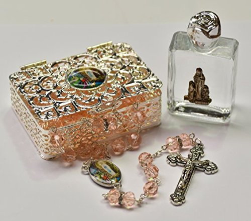 Beautiful Lourdes Rosary Beads with Lourdes Apparition Silver Rosary Box and a Bottle of Lourdes Water, Lourdes Catholic ()