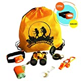 Outdoor Exploration Kit for Kids - Toy Binoculars, Flashlight, Magnifying Glass, Compass, Headlamp, Whistle, Backpack. Great Educational Children Gift Set: Camping, Hiking, Pretend Play, Bird Watching for $22.97.