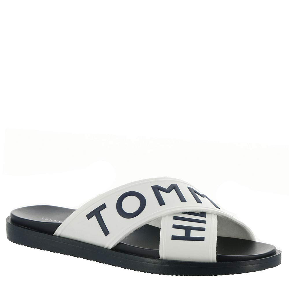 cd560b84 Amazon.com | Tommy Hilfiger Sonyah Women's Sandal 8.5 B(M) US White-Navy |  Slides