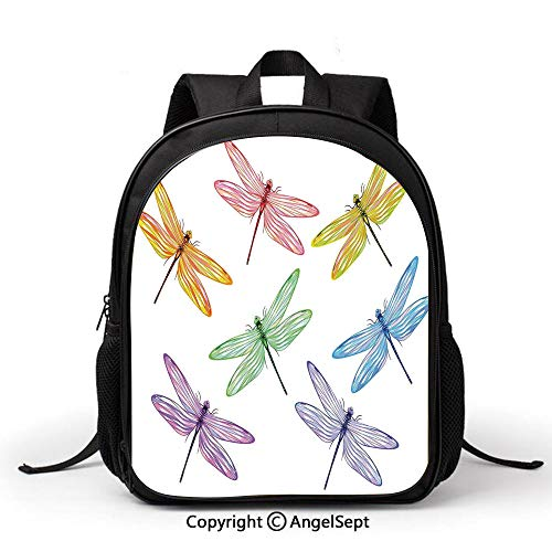Casual Style Lightweight Canvas Kindergarten kids Group of Dragonflies with Colored Patches Elongated Body Winged Animal DesignMulticolor Fashion Backpack School Bag Travel Daypack