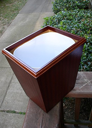 Wooden Wastebasket In Black Cherry Veneer And Solids Small Size 13Qt (with out liner)