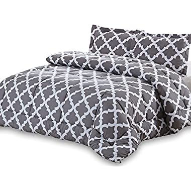 Printed Comforter Set (Grey, Queen) with 2 Pillow Shams - Luxurious Soft Brushed Microfiber - Goose Down Alternative Comforter by Utopia Bedding