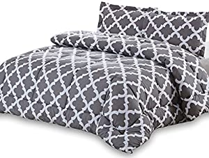 Utopia Bedding Goose Down Alternative Printed Queen Comforter Set with 2 Pillow Shams - Grey