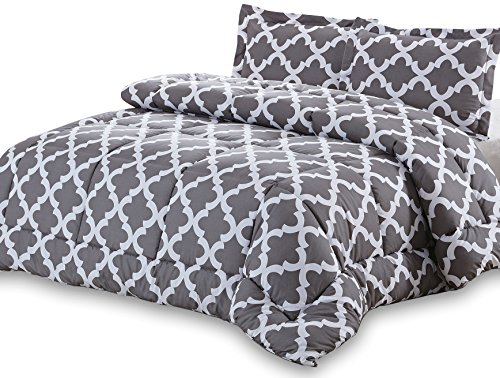 Utopia Bedding Goose Down Alternative Printed Comforter Set with 2 Pillow Shams - Grey