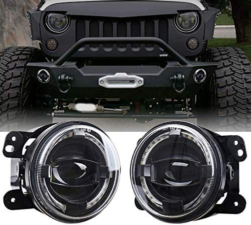 SODIAL 2Pcs 4 Front Bumper Headlight 12V 6500K Fog Light Lamp LED Angel Eye Spotlight for Wrangler PT Cruiser Refit Fog Light