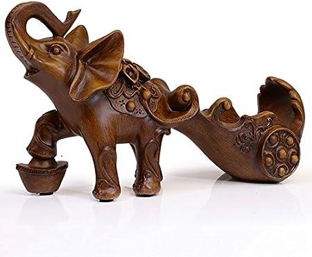 KMYX Imitación Madera Color Elefante Vinoteca Adornos Estantería Botella Antigua Decoración de Animales Artesanías de Resina Naturales Obras de Arte Decoraciones de Interior Admite 750Ml de Vino