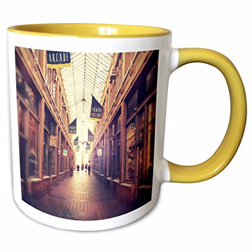 3dRose Perkins Designs Cities And Structures - On The Mall - stylized photograph of shopping arcade located in Ann Arbor, Michigan - 11oz Two-Tone Yellow Mug - In Michigan Malls City