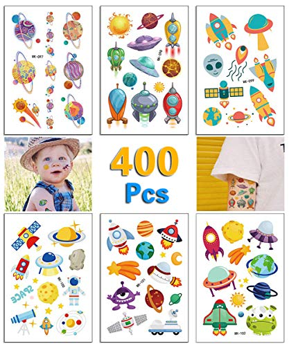 Onene 36 sheets Spaceship Alien Temporary Tattoos for Kids, Outer Space Planet Fake Tattoo Stickers for Boys and Girls, Nice Kids Birthday Party Favors]()