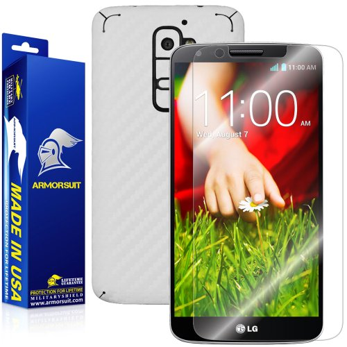 ArmorSuit MilitaryShield LG G2 Screen Protector + White Carbon Fiber Full Body Skin/Front Anti-Bubble HD Shield w/Lifetime - Protector Back Invisibleshield