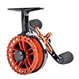 Cheap Fiblink Inline Ice Fishing Reel Right/Left In Line Ice Reel with 4+1 Ball Bearings (Orange, Rigth Handed)