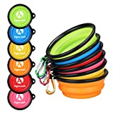 Agecash Collapsible Dog Bowl,6 Pack Silicone Portable Travel Dog Bowls with Carabiner Clip, for Dog Cat Bowls-with 6-Color Set Larger Image