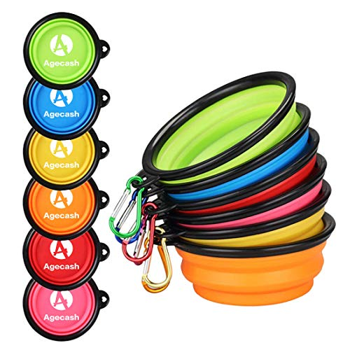 - Agecash Collapsible Dog Bowl,6 Pack Silicone Portable travel dog bowls with Carabiner Clip, For Dog Cat Bowls-With 6-Color Set