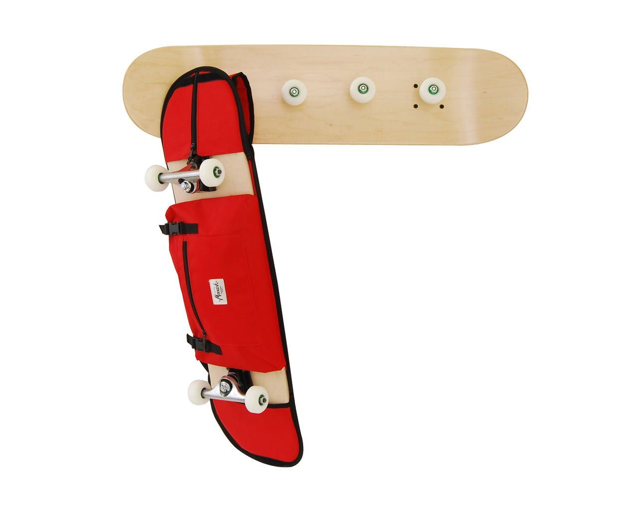 Skateboard-themed Coat rack by Skate-Home + red Monark Supply skateboard carry bag.Includes Screws and Anchors. Varnished in natural wood color.