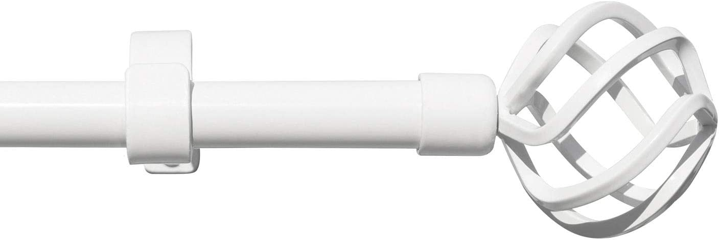 gb Home Collection Empyrean Grace Curtain Rod, 28-48 in, White, Metal Single Rod Window Treatment Rod Drapery Rod