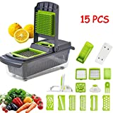 Mandoline Slicer 15 in 1 Multi-Functional Vegetable Cutter Food Chopper & Cheese Grater Kitchen Set with 8 Interchangeable Blades, Drain Basket Container,Gray