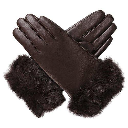 Luxury Lane Women's Rabbit Fur Cuff Cashmere Lined Lambskin Leather Gloves - Chocolate Large by Luxury Lane (Image #1)'