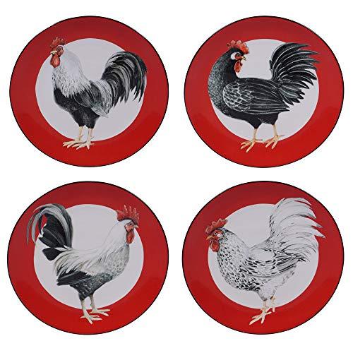 Rooster Dessert - Certified International 26781SET4 Homestead Rooster Salad/Dessert Plates,Set of 4 Assorted Designs