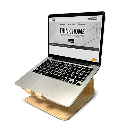 Think Home Ergonomic Bamboo Laptop Stand with Cable & Wire Organizer and Management System (Rubber Cable Holder, & Clips) by Think Home (Image #1)