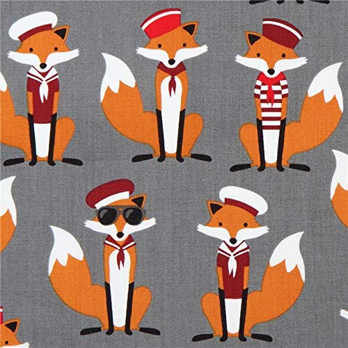 Sailor Foxes in Grey -Fabric by The Yard - 100% Quilting Cotton - Quilting Fabric by The Yard