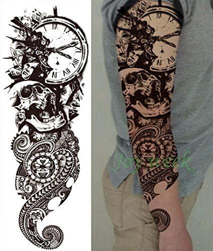Yyoutop Impermeable e Tatuaje Pegatina Brazo Completo del cráneo ...