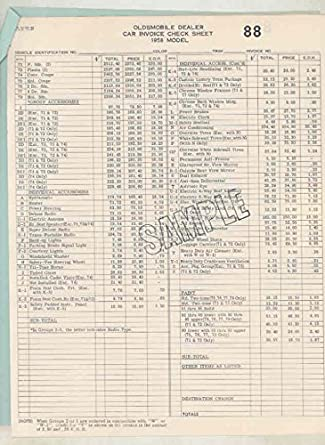 Amazon.Com: 1958 Oldsmobile 88 Car & Accessories Price List Sample