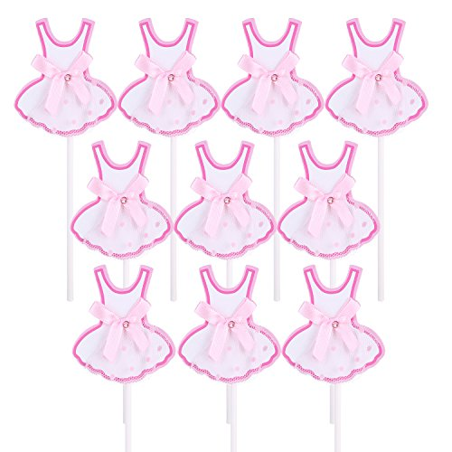 Twinkle Lace Dress Bak Cake Cupcake Topper Party Decorations,Set of 10-Pink ()