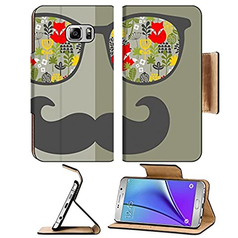 MSD Premium Samsung Galaxy Note 5 Flip Pu Leather Wallet Case Note5 IMAGE ID: 27843390 Retro sunglasses with reflection for hipster Vector illustration of accessory glasses isolated Best print (Light Wit Stand)