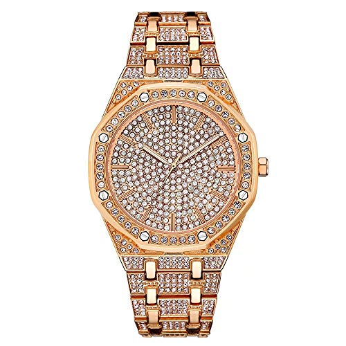 Dial Ladies Fashion Watch - Luxury Women Watch Bling Bling Fashion Jewelry Crystal Diamond Rhinestone Ladies Watches Steel Band Round Dial Analog Clock Classic Quartz Female Charm Bracelet Dress Wristwatches