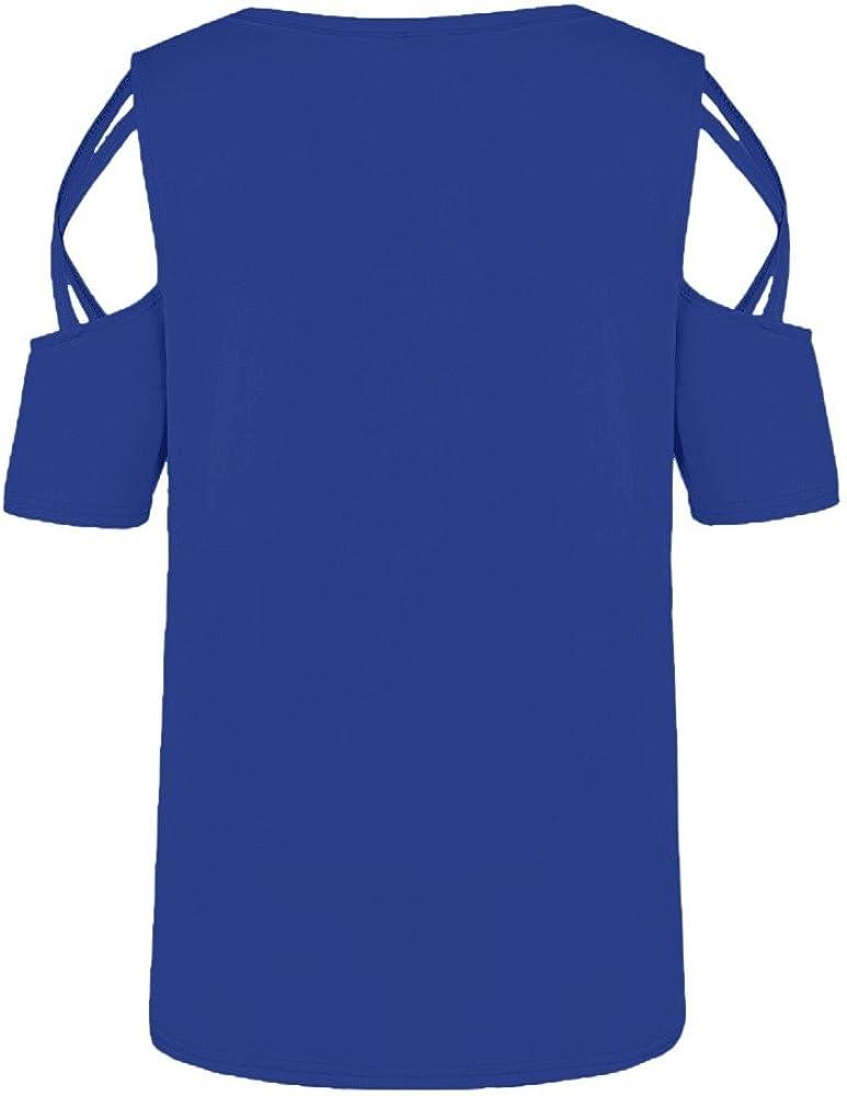 DressLksnf Camiseta Impresion para Mujer Verano de Fuera del Hombro Camiseta Casual Cuello Redondo Camiseta Suelto Color S/ólido de Blusa Slim Fit y Dobladillo Irregular Camiseta Tops