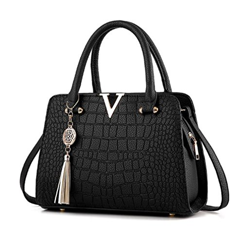 Hot Sale! Neartime Women Handbag, 2018 Woman's Tassel Crossbody Bags Leather Satchels Alligator Pattern Zipper Shoulder Bag (❤️28cm(L)×13cm(W)×20cm(H), Black)