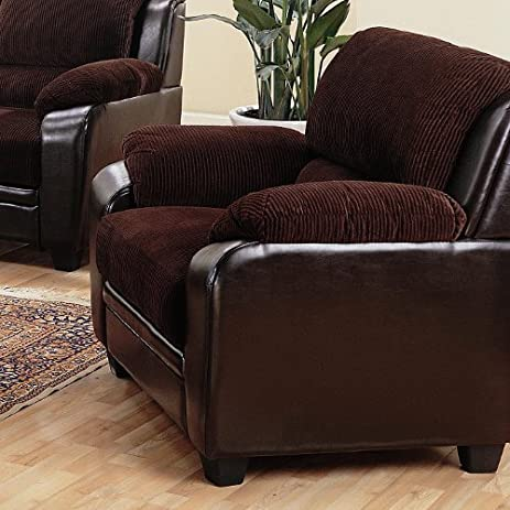 Sofa Chair In Chocolate Corduroy Fabric And Brown Leatherette