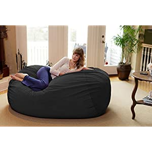 Chill Sack Bean Bag Chair: Huge 6' Memory Foam Furniture Bag and Large Lounger - Big Sofa with Soft Micro Fiber Cover - Dark Grey Pebble