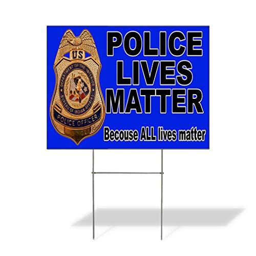 Plastic Weatherproof Yard Sign Police Lives Matter Black