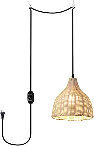 ANYE 1-Light Creative Retro Style E26 Lamp Holder Rattan Lampshade 20ft Black Cord Plug-in UL On/Off Dimmer Switch Pendant Light