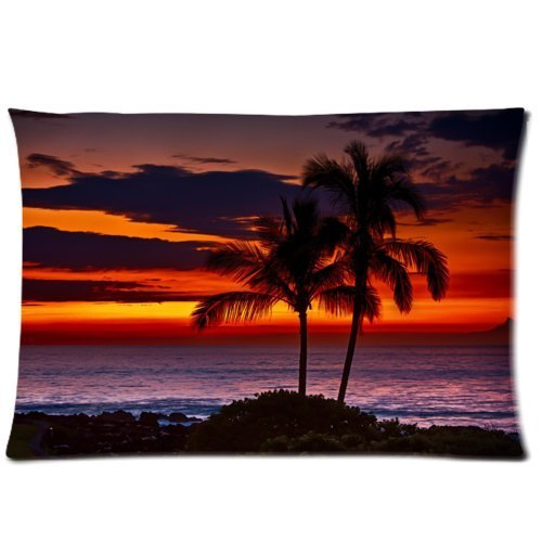 Palm Bolster Pillow - Sofa Pillowcase Palm Trees Rectangle Bed Pillow Cases 20*30 inches (one side)
