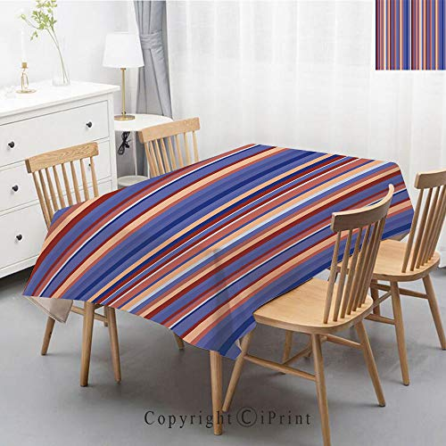 (Premium Linen Printed Tablecloth,Ideal for Grand Events and Regular Home Use,Machine Washable,55x102 Inch,Abstract,Gradient Color Vertical Stripes Lines Art Retro Graphic Display,Violet Blue Pea)