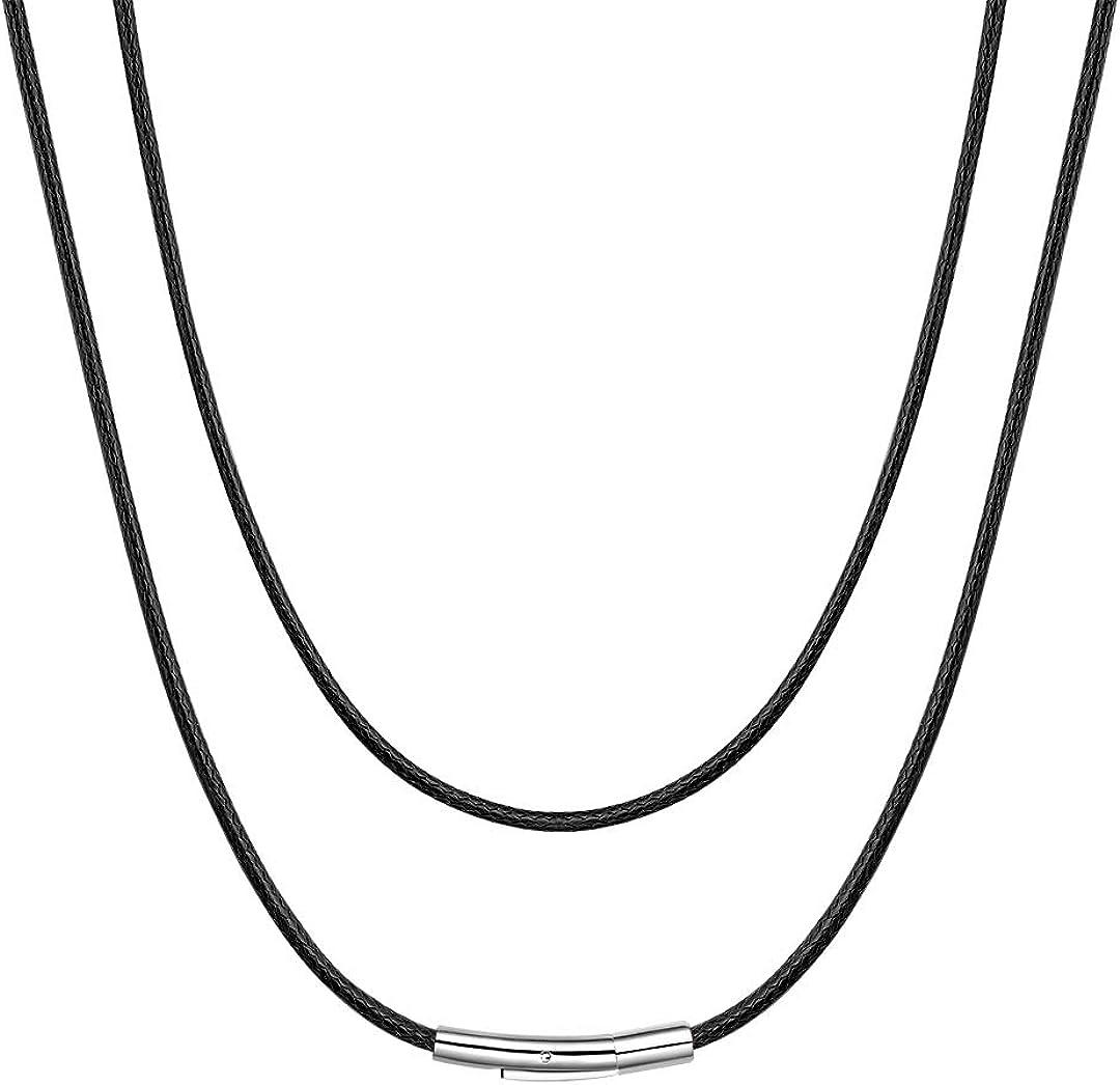 ChainsHouse Collar de Cuero Hombres Mujeres 41-76cm Collares Piel Cordón para Colgantes, Negro - Marrón - Roja - Blanco - Rosa, Collar de Cuero Personalizable con Caja de Regalo