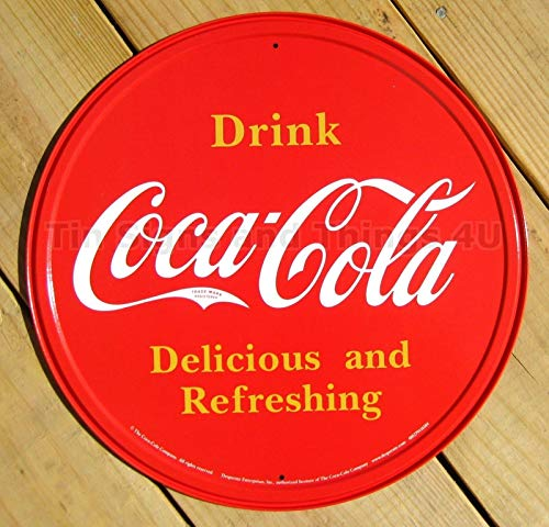ShopForAllYou Vintage Decor Signs Drink Coca Cola Round TIN Sign Vintage Bar Diner Decor Metal soda ad Coke 1658