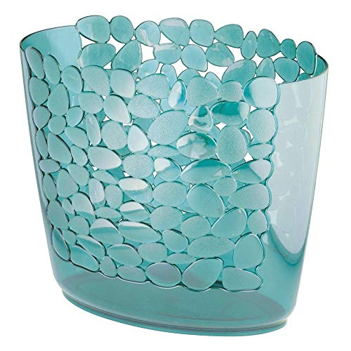 (mDesign Decorative Oval Trash Can Wastebasket, Garbage Container Bin for Bathrooms, Powder Rooms, Kitchens, Home Offices - Pebble Design - Blue)