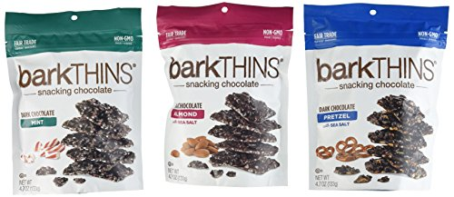 Bark Thins Snacking Chocolate Variety Pack of THREE - Dark Chocolate Almond, Dark Chocolate Mint, & Dark Chocolate Pretzel, 4.07 ounce each (3 Pack)