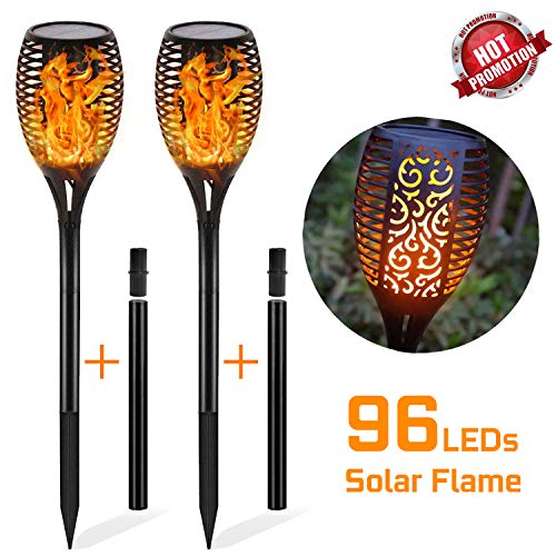 Otdair Solar Lights Outdoor Waterproof Dancing Flickering Flame 96 LED Torch Lights Solar Spotlights Landscape Decoration Lighting Dusk to Dawn Auto On/Off Security Torches for Patio Garden(2 Pack)